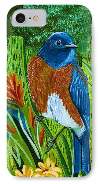IPhone Case featuring the painting Western Bluebird by Jennifer Lake