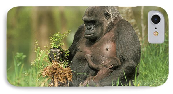 Western Gorilla And Young IPhone 7 Case by M. Watson