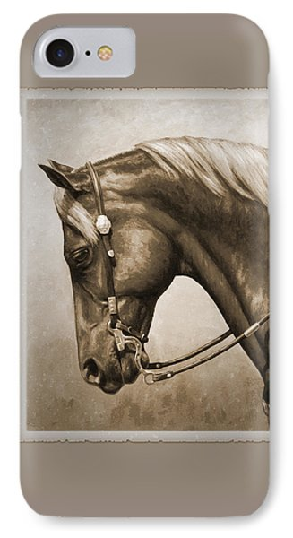 Western Horse Aged Photo Fx Sepia Pillow IPhone Case