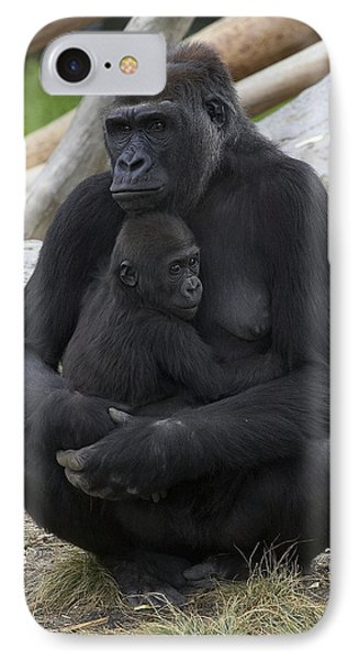 Western Lowland Gorilla Mother And Baby IPhone 7 Case by San Diego Zoo