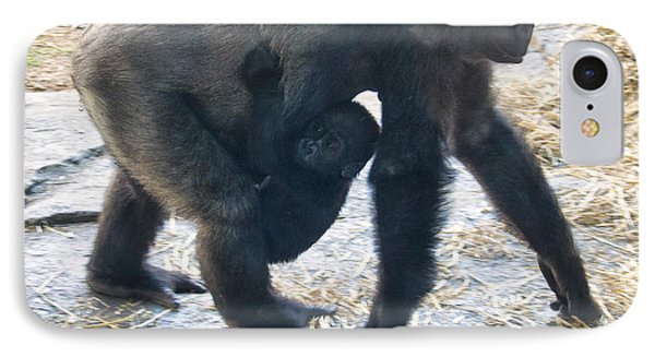 Western Lowland Gorilla With Baby IPhone Case by Chris Flees