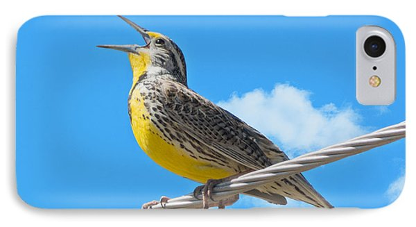 Western Meadowlark Singing From A Wire IPhone Case by Stephen  Johnson
