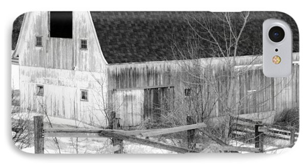 Western New York Farm 1 In Black And White Phone Case by Tracy Winter