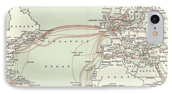 Western Union Transatlantic Cables IPhone Case by Library Of Congress, Geography And Map Division