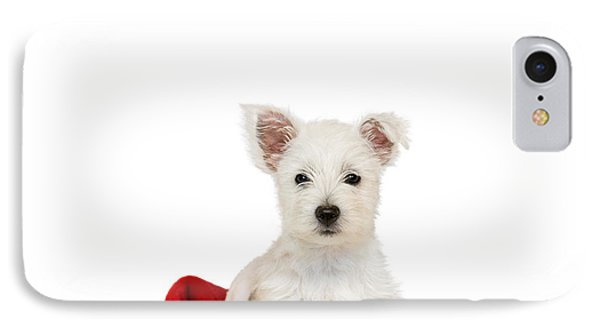 Westie Puppy And Santa Hat Phone Case by Natalie Kinnear