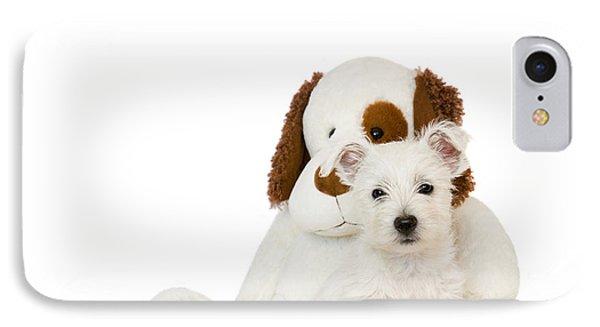 Westie Puppy And Teddy Bear Phone Case by Natalie Kinnear