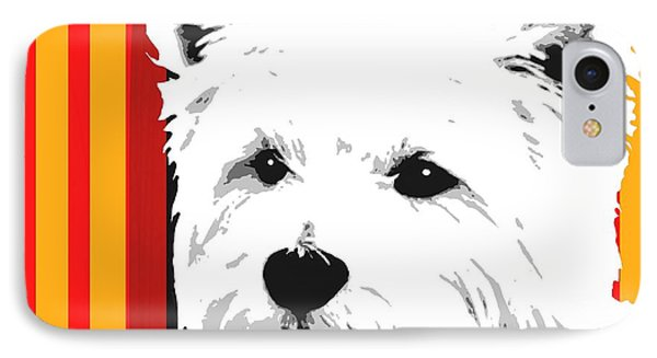 Westie With Stripes IPhone Case