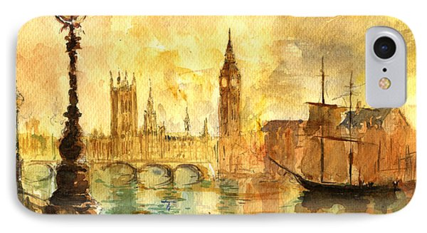 Westminster Palace London Thames IPhone 7 Case by Juan  Bosco