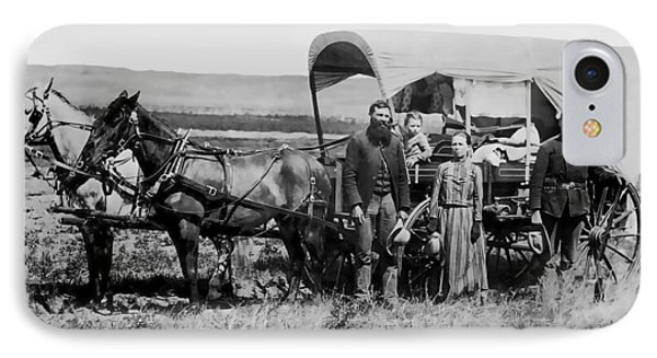 Westward Family In Covered Wagon C. 1886 IPhone Case by Daniel Hagerman