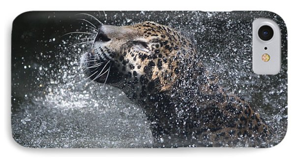 IPhone Case featuring the pyrography Wet Jaguar  by Shoal Hollingsworth