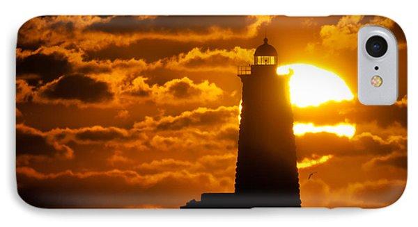 Whaleback Lighthouse Sunrise IPhone Case by Scott Thorp