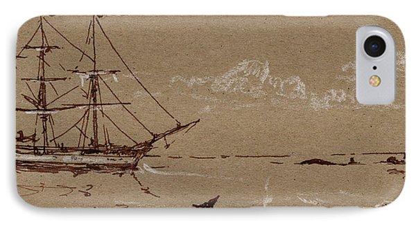 Whaler Ship Frigate IPhone Case by Juan  Bosco