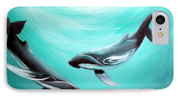 IPhone Case featuring the painting Whales by Bernadette Krupa