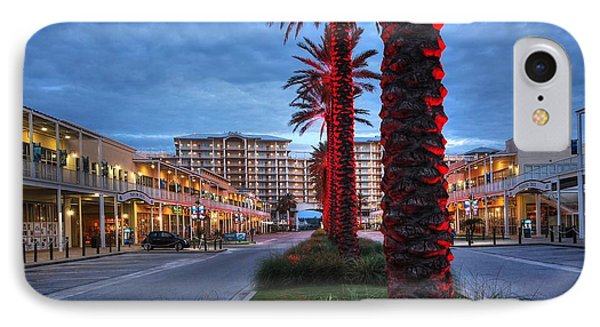 Wharf Red Lighted Trees IPhone Case by Michael Thomas