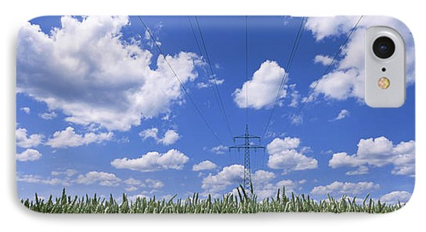 Wheat Field And Transmission Tower IPhone Case by Panoramic Images