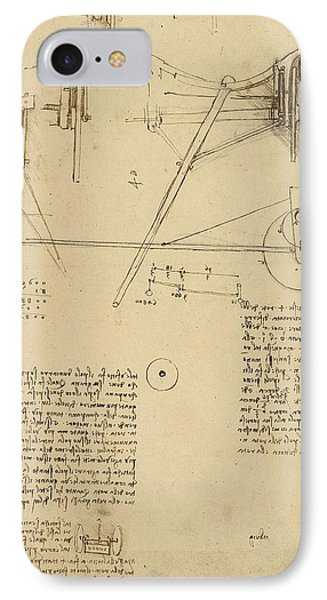 Wheels And Pins System Conceived For Making Smooth Motion Of Carts From Atlantic Codex Phone Case by Leonardo Da Vinci