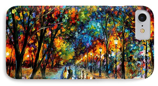 When Dreams Come True - Palette Knlfe Landscape Park Oil Painting On Canvas By Leonid Afremov IPhone Case by Leonid Afremov