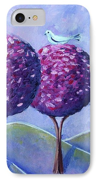 IPhone Case featuring the painting When The Cherry Trees Are Blooming by Nina Mitkova