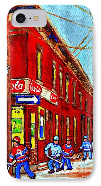 When We Were Young - Hockey Game At Piche's - Montreal Memories Of Goosevillage Phone Case by Carole Spandau