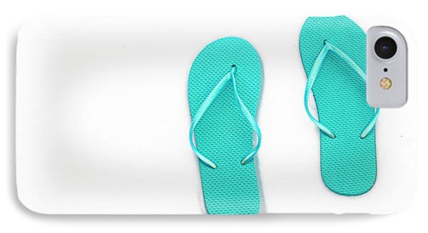 Where On Earth Is Spring - My Aqua Flip Flops Are Waiting Phone Case by Andee Design