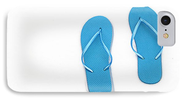 Where On Earth Is Spring - My Blue Flip Flops Are Waiting Phone Case by Andee Design