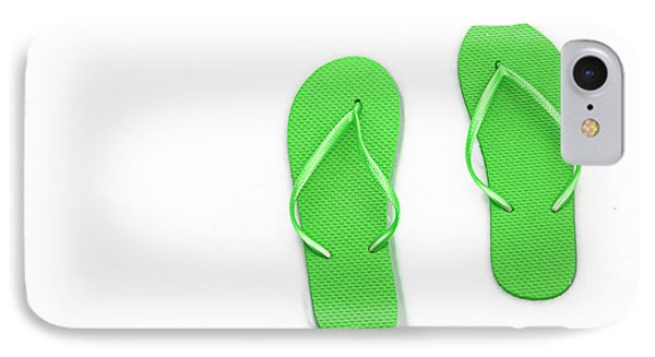 Where On Earth Is Spring - My Green Flip Flops Are Waiting Phone Case by Andee Design