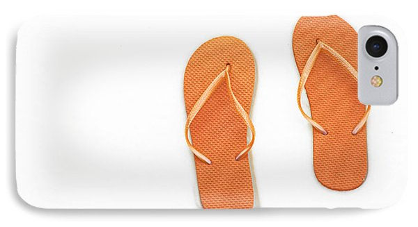 Where On Earth Is Spring - My Orange Flip Flops Are Waiting Phone Case by Andee Design