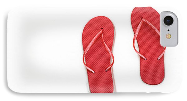 Where On Earth Is Spring - My Red Flip Flops Are Waiting Phone Case by Andee Design