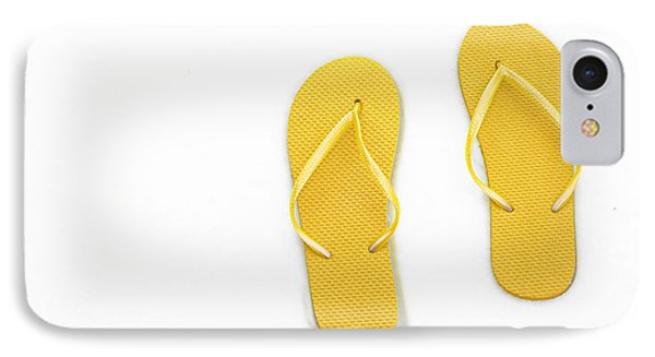 Where On Earth Is Spring - My Yellow Flip Flops Are Waiting Phone Case by Andee Design