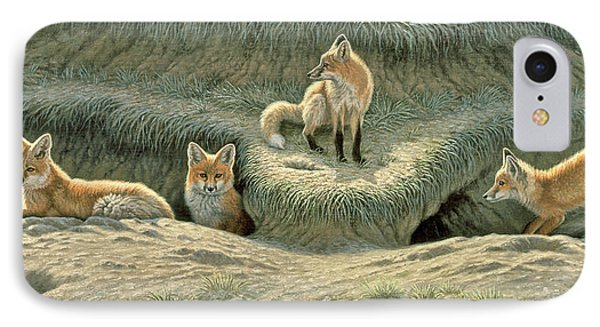 Where's Mom-fox Pups IPhone Case by Paul Krapf