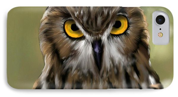 The Gaze Of An Owl - Where's My Dinner?  IPhone Case by Ron Grafe