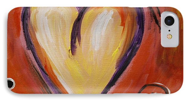 Whimsical  Abstract Art - With All My Heart IPhone Case by Karyn Robinson