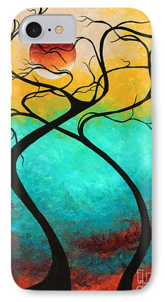 Whimsical Abstract Tree Landscape With Moon Twisting Love IIi By Megan Duncanson IPhone Case by Megan Duncanson