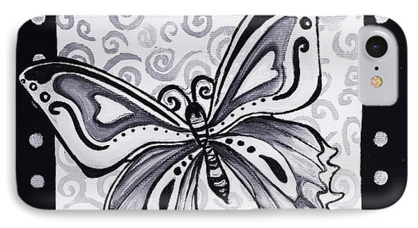 Whimsical Black And White Butterfly Original Painting Decorative Contemporary Art By Madart Studios Phone Case by Megan Duncanson