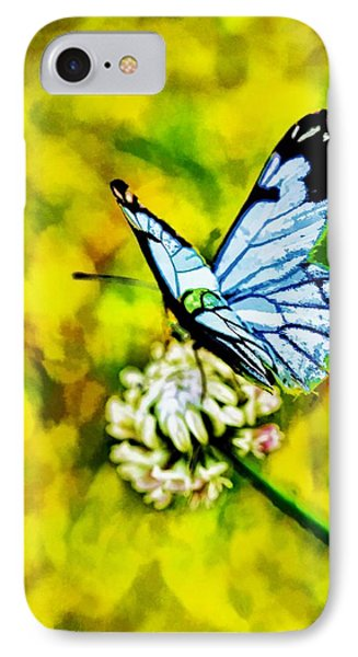 IPhone Case featuring the painting Whimsical Butterfly On A Flower by Tracie Kaska