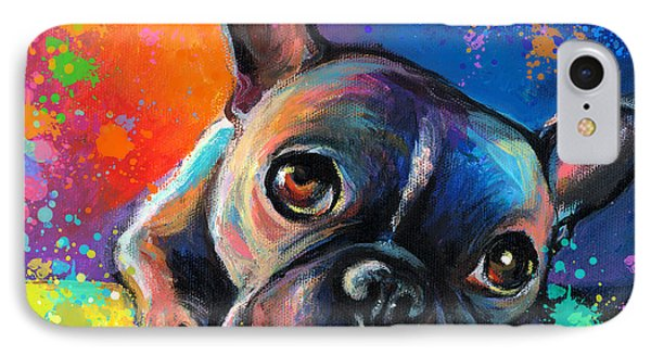 Whimsical Colorful French Bulldog  IPhone Case by Svetlana Novikova