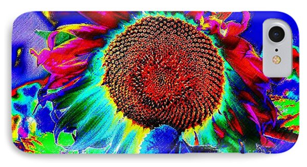 Whimsical Colorful Sunflower IPhone Case by Annie Zeno