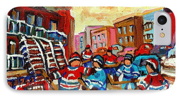 Whimsical Hockey Art Snow Day In Montreal Winter Urban Landscape City Scene Painting Carole Spandau Phone Case by Carole Spandau
