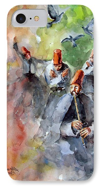 Whirling Dervishes And Pigeons         IPhone Case by Faruk Koksal