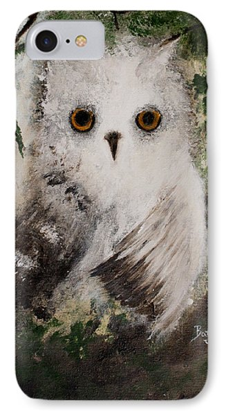 IPhone Case featuring the painting Whisper The Snowy Owl by Barbie Batson