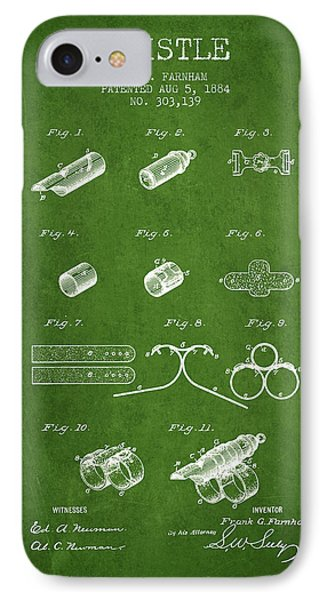 Whistle Patent From 1884 - Green IPhone Case