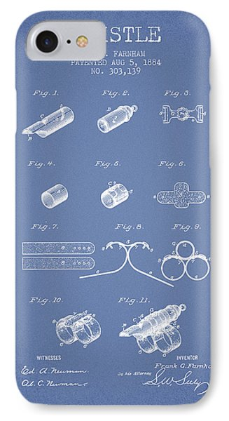 Whistle Patent From 1884 - Light Blue IPhone Case