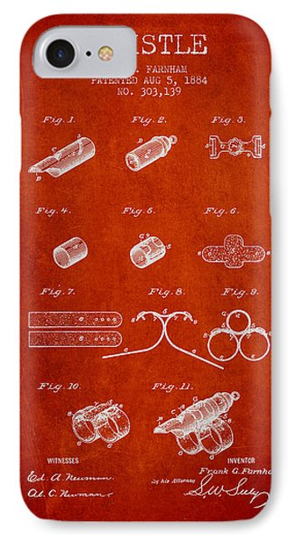 Whistle Patent From 1884 - Red IPhone Case