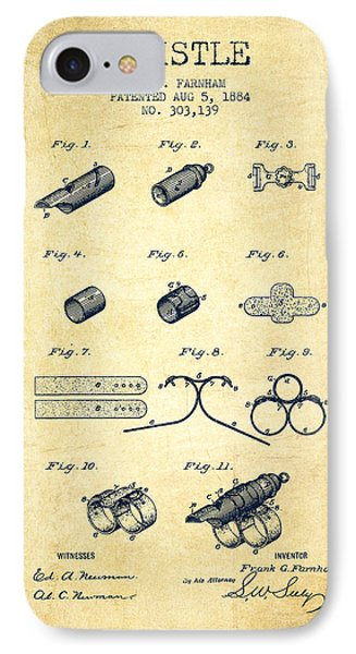 Whistle Patent From 1884 - Vintage IPhone Case