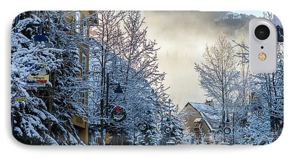 Whistler Village On A Sunny Winter Day IPhone Case by Pierre Leclerc Photography