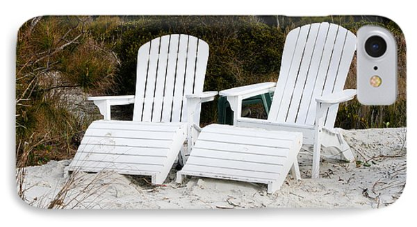 White Adirondack Chairs In The Sand Phone Case by Thomas Marchessault