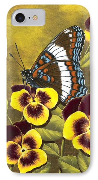 White Admiral And Pansies IPhone Case by Rick Bainbridge