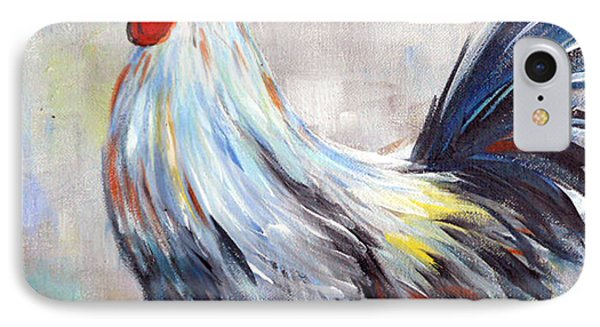 White And Blue Rooster Phone Case by Dorothy Maier