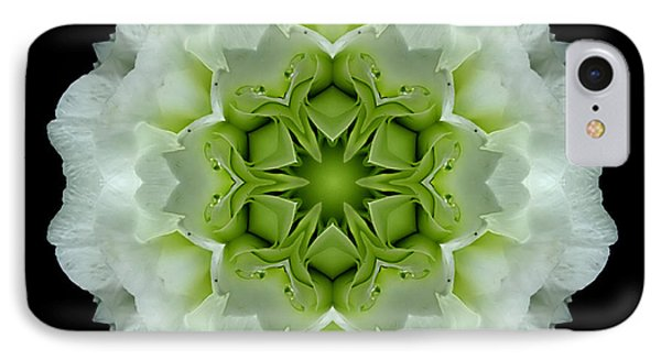 White And Green Begonia Flower Mandala Phone Case by David J Bookbinder