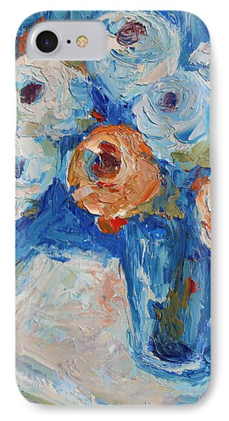 IPhone Case featuring the painting White And Orange Roses In A Sea Of Blue by Thomas Bertram POOLE
